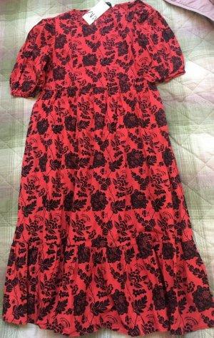 Zara Kleid mit Stickerei und Pailletten rot Gr.L Neu