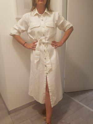 Zara Woman Vestido vaquero blanco puro