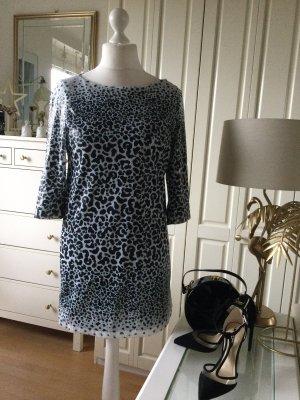 Zara Kleid Pailetten schwarz weiß Animalprint Gr. L