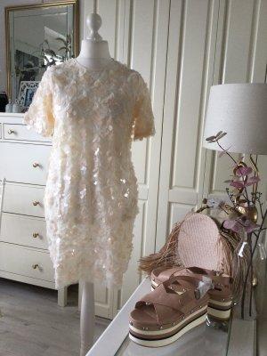 Zara Kleid Pailletten groß Creme Gr. M neu mit Etikett