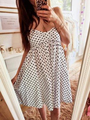 Zara Kleid Punkte Weiß Rockabilly Dots  XS