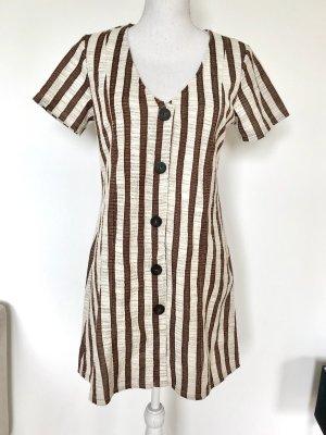 ZARA Kleid S 36 Gestreift Leinenoptik Braun Beige Hemdblusenkleid