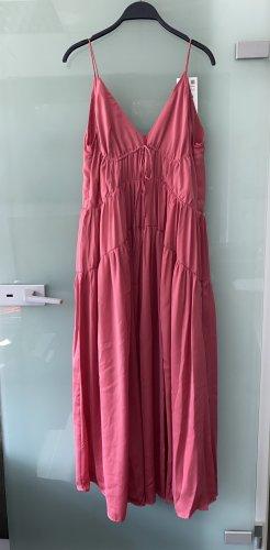 Zara Kleid Satin Lang Maxikleid Rose rosa V Ausschnitt