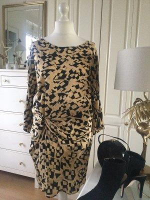 Zara Kleid Seide Knotendetail grafisches Muster Senfgelb schwarz Gr. L