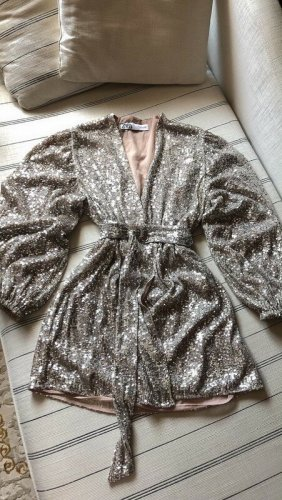 Zara Kleid sequin dress mini paillettes Nude Silber Wrap belt rhinestones puff sleeve