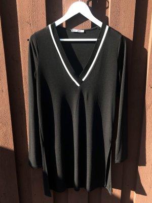 Zara Maglia con scollo a V nero-bianco