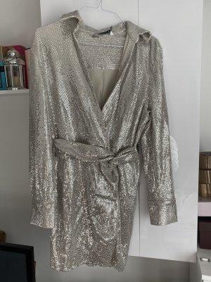 Zara Longsleeve Dress silver-colored
