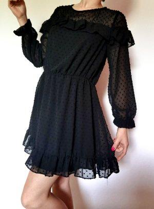 Zara Kleid Sommer durchsichtig kleines Schwarzes Bommeln Rüsschenkleid