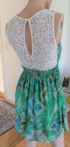 Zara Kleid Sommerkleid ärmellos grün/beige/blau/weiß mit Spitze Damen Gr. XS