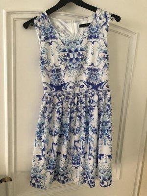 Zara Kleid Sommerkleid kurz Sommer Muster blau weiß Größe S
