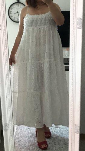 Zara Kleid Sommerkleid Maxi Gr.L mit Lochstickerei