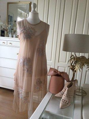 Zara Kleid Tüll bestickt Volants asymetrisch nudefarben Gr. L