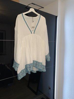 Zara Kleid Tunikakleid weiß blau türkis wie Leinen Mull Neu