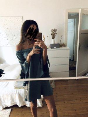 Zara Kleid Volants Rüschen grün blau petrol Mini