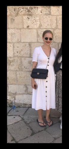 Zara Kleid weiß Leinen Optik