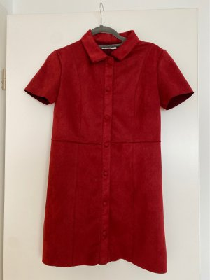 Zara Leather Dress dark red