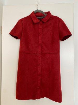 Zara Vestido de cuero rojo oscuro