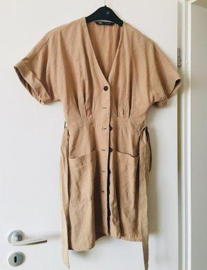 Zara Sukienka boho camel-beżowy