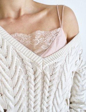ZARA Knit Baumwollpullover Grobstrick Pulli mit Zopfmuster und tiefem Ausschnitt