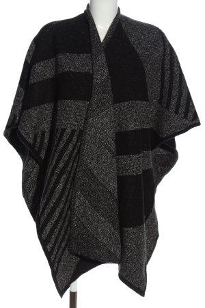 Zara Knit Mantella nero-grigio chiaro motivo a righe stile casual