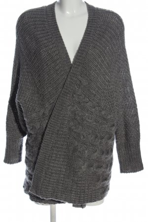 Zara Knit Cardigan hellgrau Zopfmuster Casual-Look