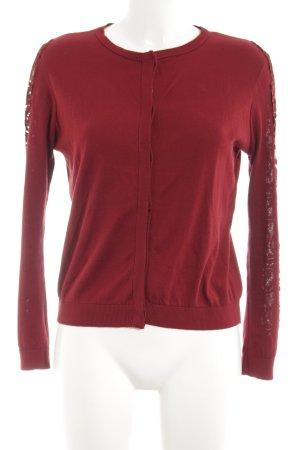 Zara Knit Cardigan rot-silberfarben Casual-Look