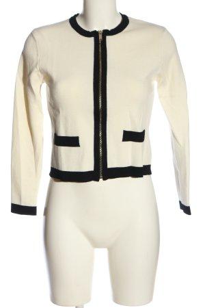 Zara Knit Cardigan weiß-schwarz Business-Look