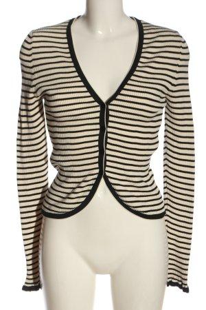 Zara Knit Cardigan creme-schwarz Allover-Druck Casual-Look