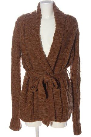 Zara Knit Cardigan braun Zopfmuster Casual-Look