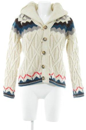 Zara Knit Cardigan creme Aztekenmuster Casual-Look