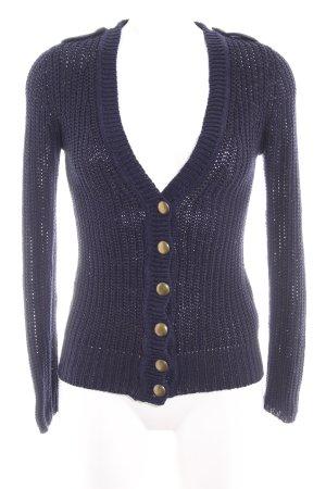 Zara Knit Cardigan dunkelblau-goldfarben Casual-Look