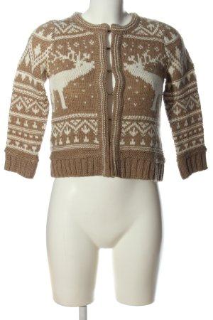 Zara Knit Cardigan creme-braun Allover-Druck Casual-Look
