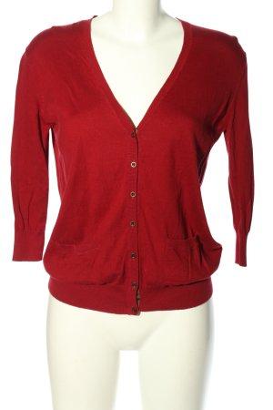 Zara Knit Cardigan rot Zopfmuster Casual-Look