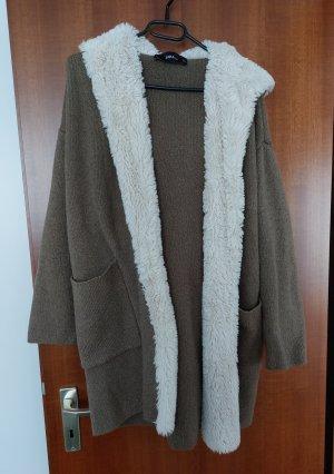 Zara Knit Cardigan Strickjacke Strick Jacke mit Plüsch und Kapuze