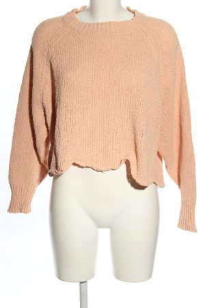 Zara Knit Cropped Pullover nude Casual-Look