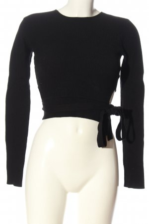 Zara Knit Cropped Pullover schwarz Zopfmuster Casual-Look