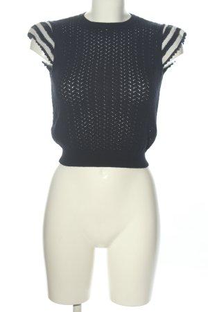 Zara Knit Camisa recortada negro-blanco estampado a rayas look casual