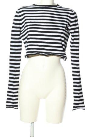Zara Knit Cropped shirt zwart-wit gestreept patroon casual uitstraling