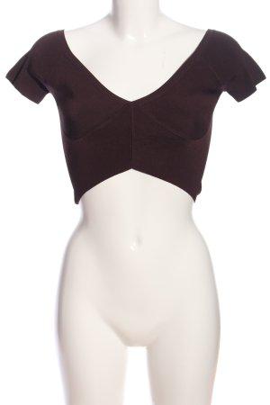 Zara Knit Top corto marrone stile casual