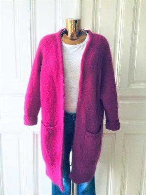 Zara Knit Gebreide jas violet-roze Mohair