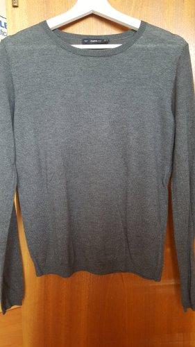 Zara Knit / dünner Strickpullover / dunkles grau / neu