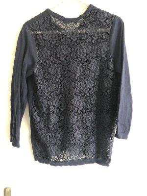 Zara Knit dunkelblaue Strickjacke mit Spitze