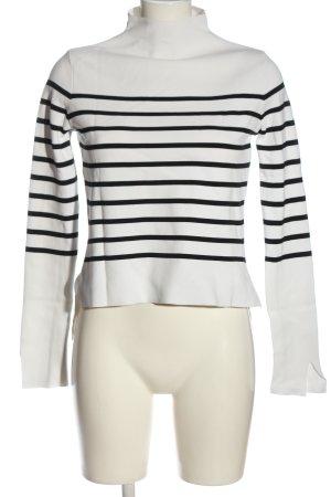 Zara Knit Feinstrickpullover weiß-schwarz Streifenmuster Casual-Look