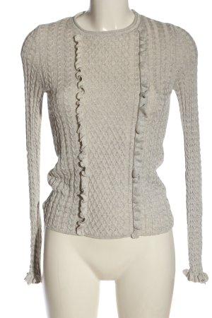 Zara Knit Feinstrickpullover wollweiß grafisches Muster Casual-Look