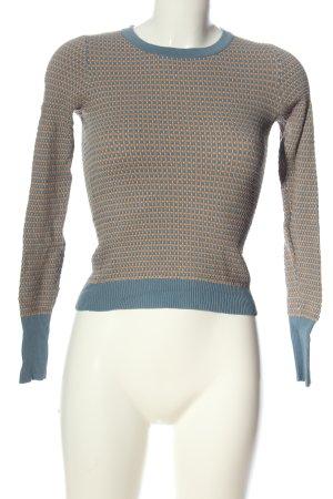 Zara Knit Feinstrickpullover blau-braun Punktemuster Casual-Look