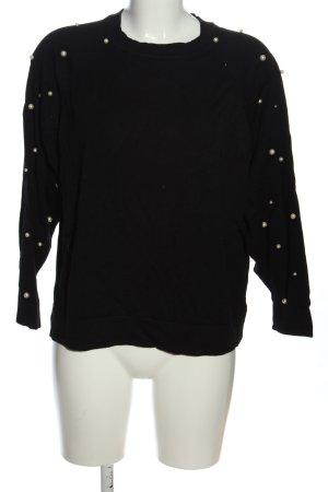 Zara Knit Feinstrickpullover schwarz Casual-Look