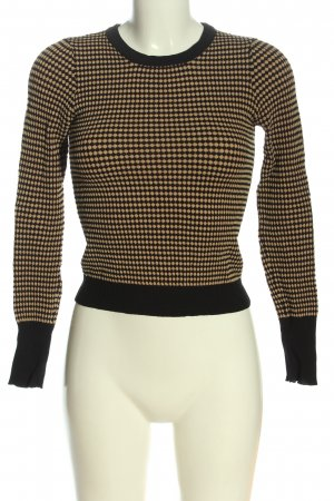 Zara Knit Feinstrickpullover creme-schwarz Allover-Druck Casual-Look
