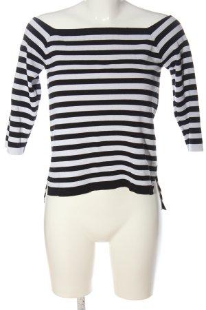 Zara Knit Feinstrickpullover schwarz-weiß Streifenmuster Casual-Look