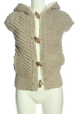 Zara Knit Gilet en fourrure crème torsades style décontracté