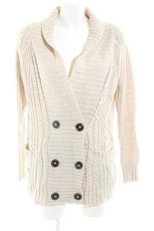 Zara Knit Grobstrickjacke wollweiß Zopfmuster Casual Look